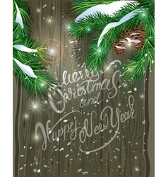 Old Wooden Christmas background vector image vector image