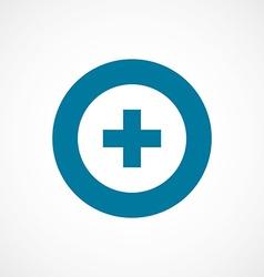 Plus bold blue border circle icon vector