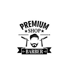Premium barbershop salon mustaches icon vector