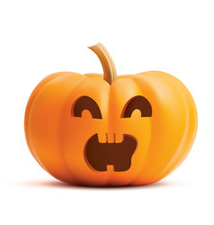 Pumpkin screaming face on white background vector