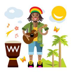 Rastafarian reggae artist flat style vector