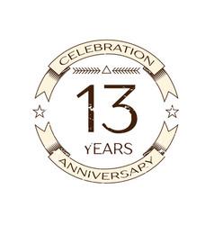 realistic thirteen years anniversary celebration vector image vector image