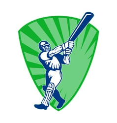 Retro cricket shield vector