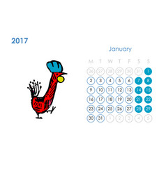 Rooster calendar 2017 for your design january vector