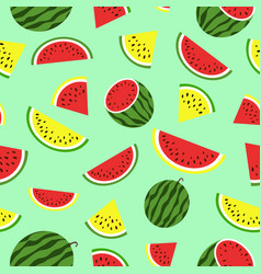seamless pattern with red and yellow watermelon vector image vector image