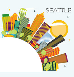 Seattle skyline with color buildings and copy vector