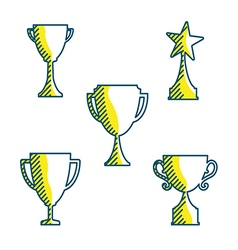Trophy cup icons variable line flat design style vector image