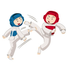 Two men doing taekwondo vector