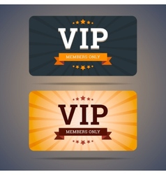 Vip club card design templates in flat style vector image