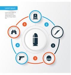 Warfare icons set collection of slug weapons vector