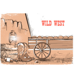 Wild west background with cowboy boots american vector