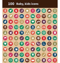 100 baby kids icons vector image