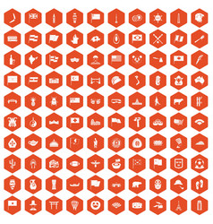 100 national flag icons hexagon orange vector