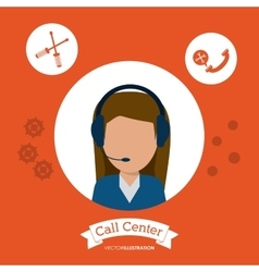 Operator assistant woman headphone call center vector