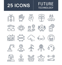 Set flat line icons future technology vector