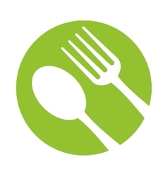 spoon fork utensils eat icon green background vector image