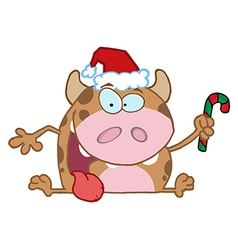 Christmas calf cartoon character vector