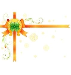 Golden lucky horseshoe corner orange ribbon bow vector