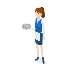 Restaurant waitress holding round metal grey tray vector