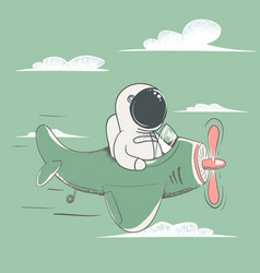 happy astronaut flying on the plane in sky vector image