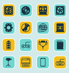 Set of 16 computer hardware icons includes pc vector