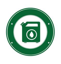 Color circular emblem with bio fuel container vector