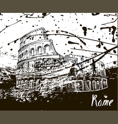 Colosseum sketch hand drawn ink spots vector