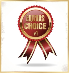 Editors choice red label with ribbons vector