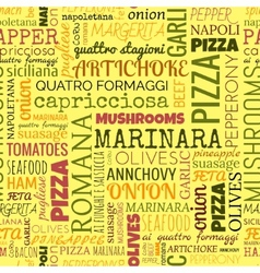 Pizza words tags seamless pattern vector