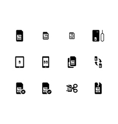 Mobile phone SIM icons on white background vector image