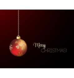 Merry christmas card with red bauble vector