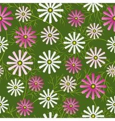 Cosmos flowers field seamless pattern vector