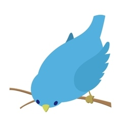Bend down blue bird vector