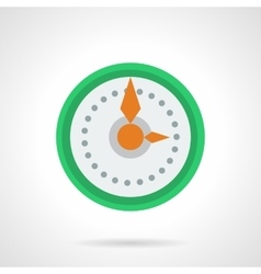 Green round wall clock flat color icon vector image