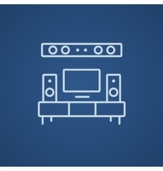 Tv flat screen and home theater line icon vector