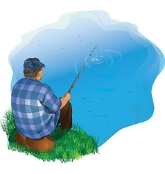Fisherman on fishing with a fishing rod vector