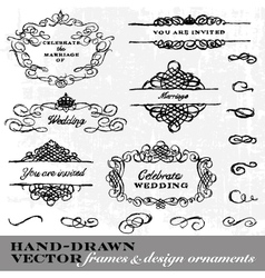 Hand Drawn Frame and Ornament Set vector image
