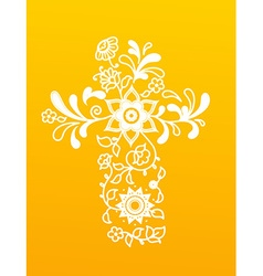 White floral christianity cross on yellow vector