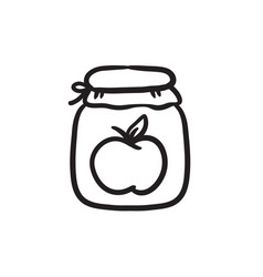 Apple jam jar sketch icon vector