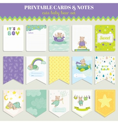 Baby Bear Card Set for celebration vector image