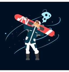 Boy Holding Snowboard vector image
