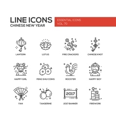 Chinese New Year - line design icons set vector image vector image
