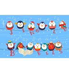 Christmas birds on wires greetings card holding vector