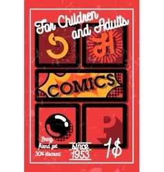 Color vintage comics shop banner vector image