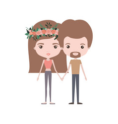 Colorful caricature thin couple in clothes man and vector