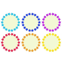 Colourful round empty templates made of stars vector image