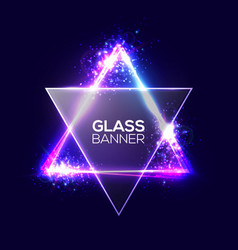 david star neon sign triangle banner with glass vector image