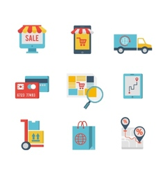 E-commerce symbols and internet shopping elements vector
