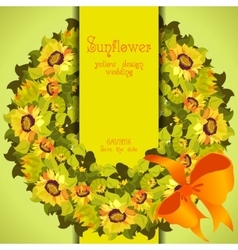 Floral sunflower and leafs circle strip border vector