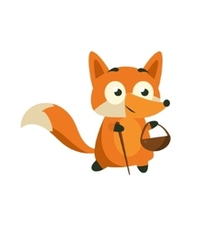 Fox Picking Berries And Mushrooms vector image vector image